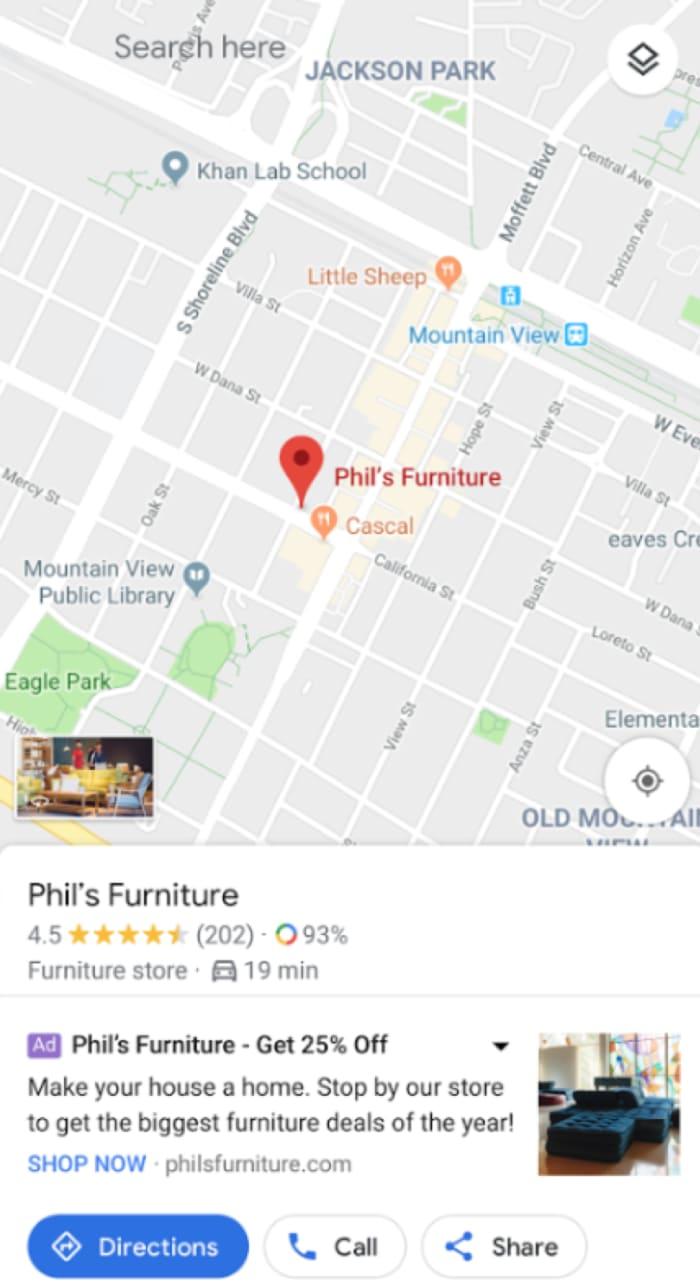L'utente cerca le indicazioni per raggiungere il punto vendita tramite Maps.