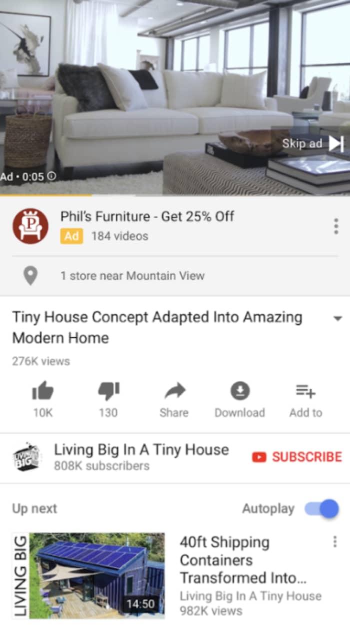 Annuncio del negozio selezionato su YouTube