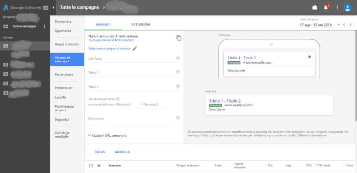 Nuova Interfaccia per Google Adwords
