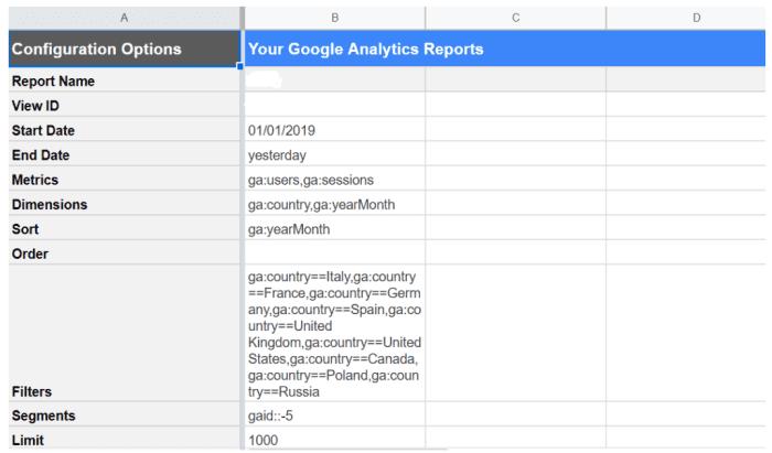 Opzioni di configurazione su Google Data Studio