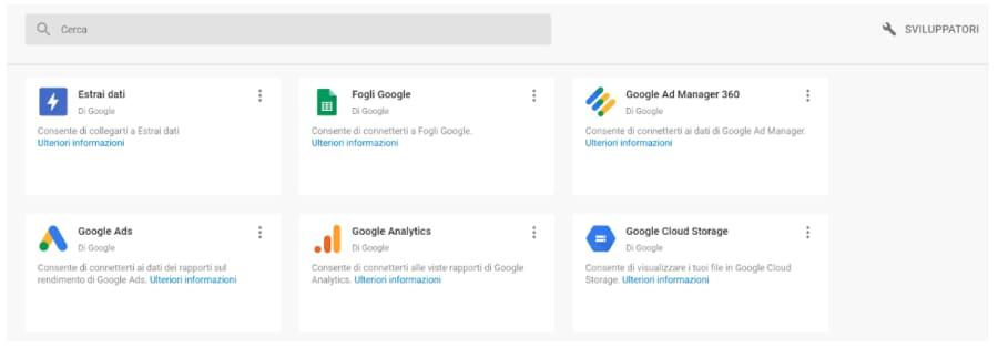 Panoramica dei tool di Google