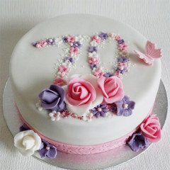 Torte einstöckig - Blumen dezent