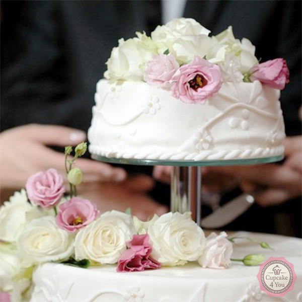 Hochzeitstorte Dreistockig Weiss Creme Rose Cupcake4you