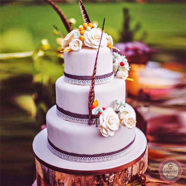 Hochzeitstorte 3-stöckig flieder  - Hochzeitstorten