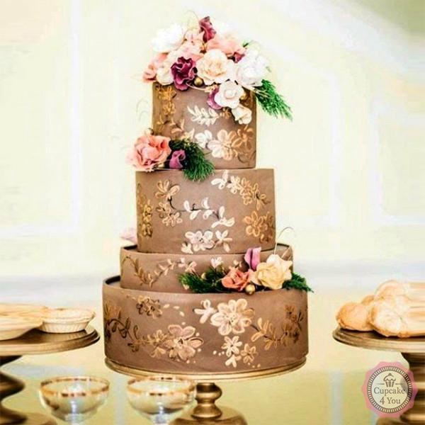 Hochzeitstorte Vierstockig Gold Cupcake4you