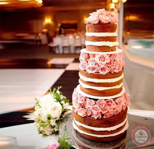 Hochzeitstorte fünfstöckig - naked Cake mit Rosen - Hochzeitstorten