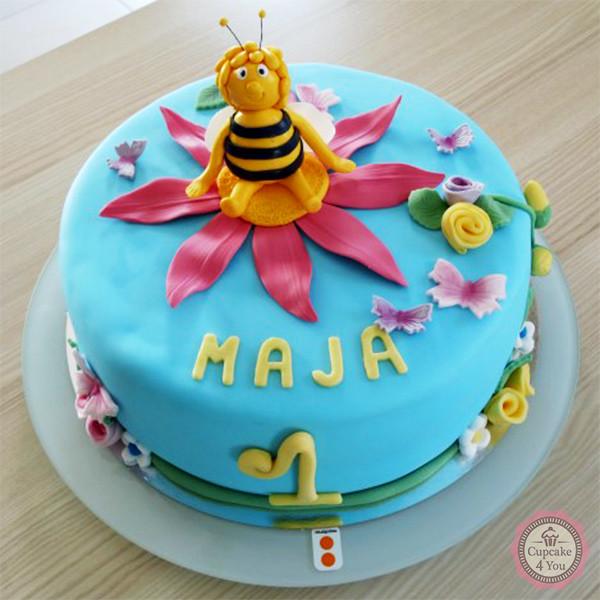 Motivtorte einstöckig - Biene Maja auf der Blume - Kindergeburtstagstorten