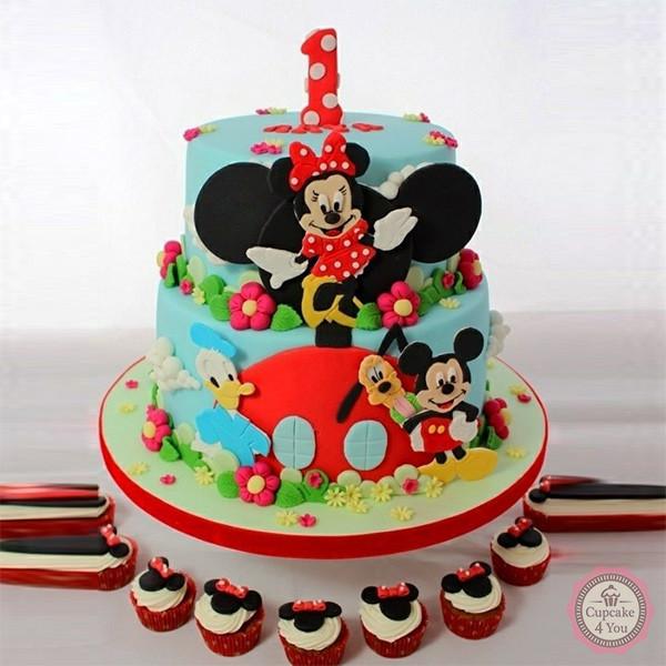 Motivtorte zweistöckig - Minnie Maus - Kindergeburtstagstorten
