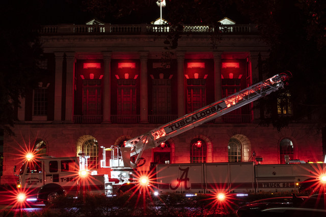 City Hall lights in honor of fire fighters