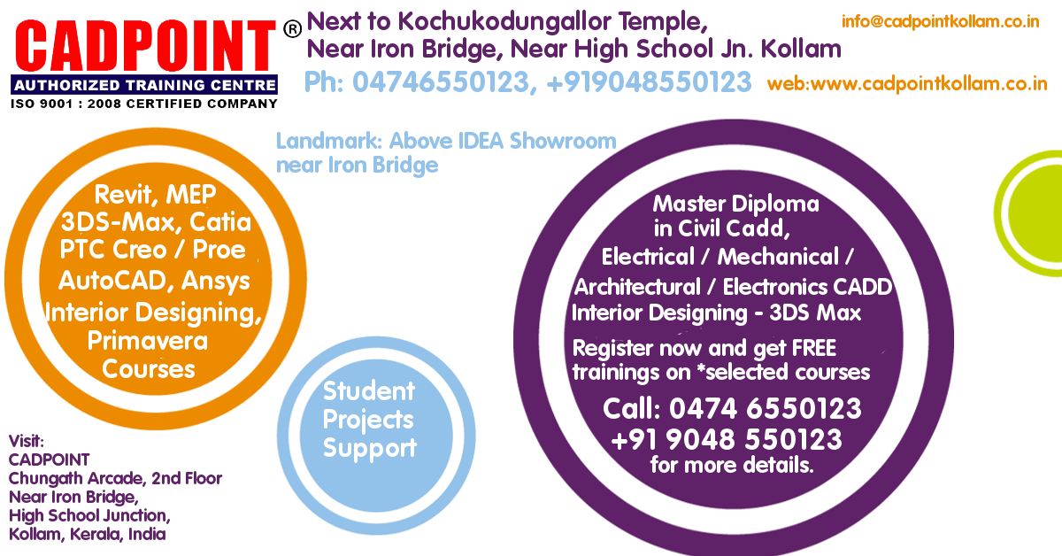 Training centres Kollam CADPOINT Kerala India