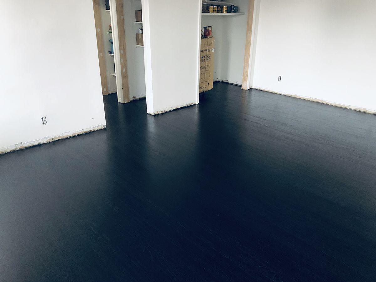 black wood floor