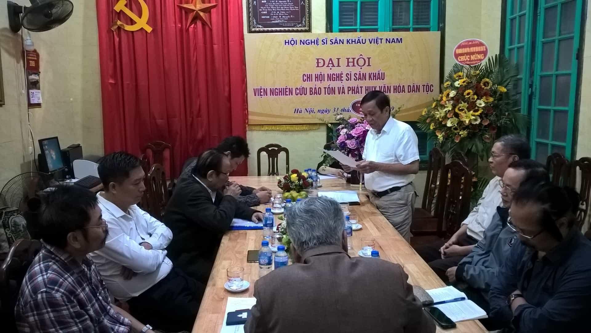Quang canh Đại hội Chi hội nghệ sĩ sân khấu Viện nghiên cứu bảo tồn phát huy văn hoá dân tộc.