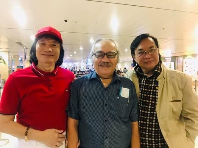 Từ trái qua (NSƯT Minh Vương- Đạo diễn NSƯT Minh Ngọc- NSƯT Thanh Tuấn) tại sân bay Tân Sơn Nhất (Ảnh Thanh Hiệp)
