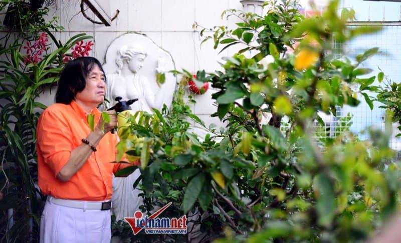 Nghệ sĩ Minh Vương chăm vườn cây.
