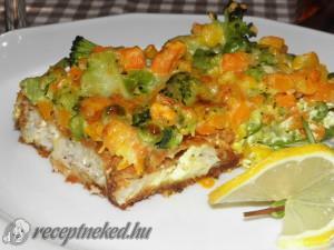 Rakott tengeri hal zöldségekkel