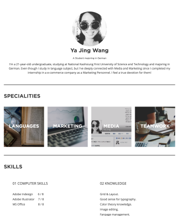 Ya Jing Wang's CakeResume - Ya Jing Wang A Student majoring in German I'm a 21-year-old undergraduate, studying at National Kaohsiung First University of Science and Technolog...