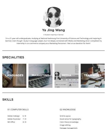 Ya Jing Wang's CakeResume