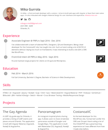 Mika Gurrola's CakeResume - Mika Gurrola I'm Mika - a front-end web developer with a camera. I strive to build web apps with Angular or React that rivals native apps. I'm also...