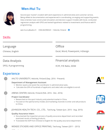 WenhuiTu's CakeResume - Wen-Hui Tu Second year master's student with work experience in administrative and customer service. Being skilled at documentation and experienced...