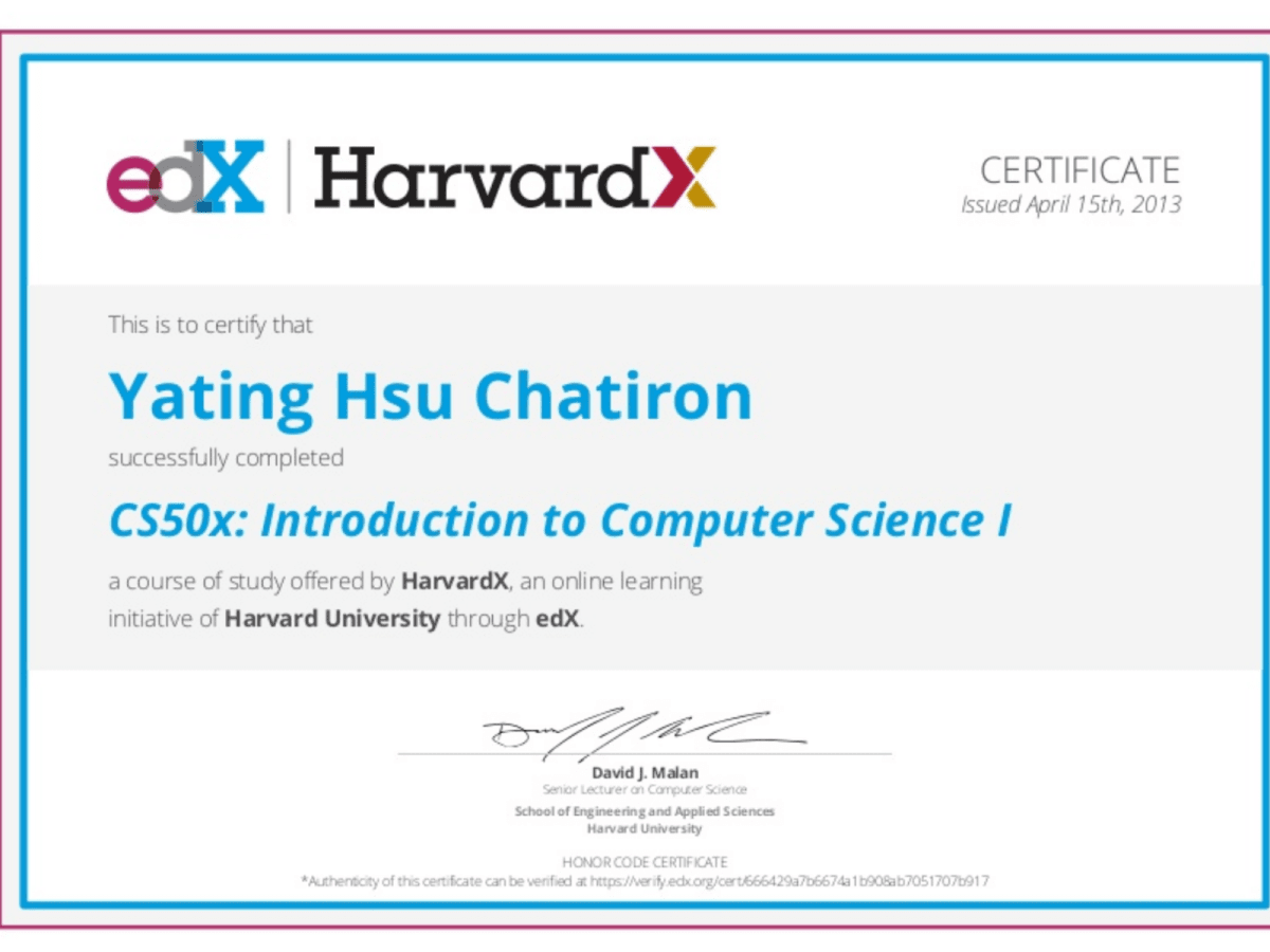 Computer Science Certificate Yating Chatirons Portfolio