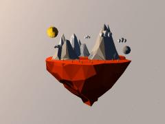 C4D浮空島嶼-日月 sun&moon island