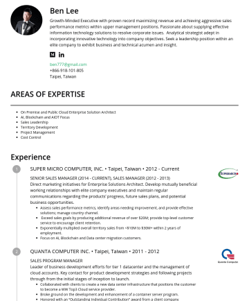 Director Resume Examples - Ben Lee Growth-Minded Executive with proven record maximizing revenue and achieving aggressive sales performance metrics within upper management po...