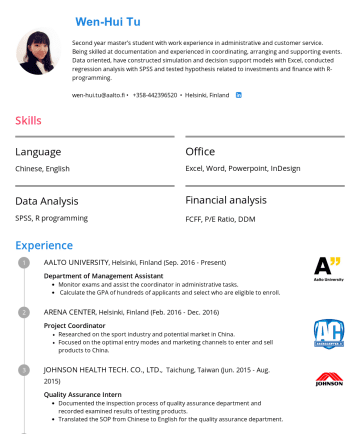 Resume Samples - Wen-Hui Tu Second year master's student with work experience in administrative and customer service. Being skilled at documentation and experienced in coordinating, arranging and supporting events. Data oriented, have constructed simulation and decision support models with Excel, conducted regression analysis with SPSS and tested hypothesis related to investments...