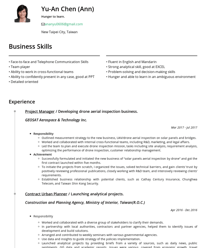 陳俞安 Cakeresume Featured Resumes