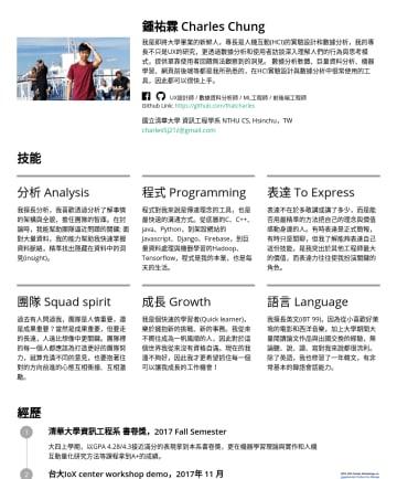UX設計師 資料分析師 Resume Examples - 鍾祐霖 Charles Chung 我是即將大學畢業的新鮮人,專長是人機互動(HCI)的實驗設計和數據分析,我的專長不只是UX的研究,更透過數據分析和使用者訪談深入理解人們的行為與思考模式,提供單靠使用者回饋無法觀察到的洞見。 數據分析軟體、巨量資料分析、機器學習、網頁前後端等都是我所熟悉的,...