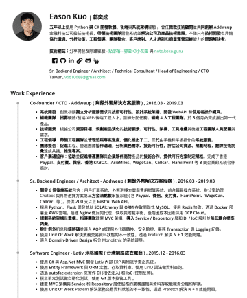 Senior 後端工程師、技術顧問、架構師、技術管理職 Resume Samples - Awards 2019 Domain-Driven Design Taiwan 技術社群核心志工 投入並擔任技術社群 Domain-Driven Design Taiwan 核心志工並以講者身份分享 Implementing Domain-Driven Design - Context Maps 2016 Microsoft MVP Award ( 微...
