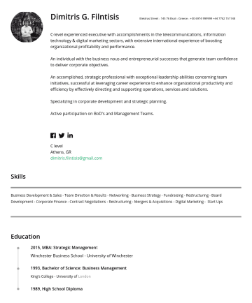 C level Resume Samples - Dimitris G. Filntisis Elektras StreetEkali - GreeceC-level experienced executive with accomplishments in the telecommunications, information techno...