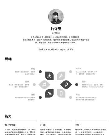 許守歷's CakeResume - 許守歷 台大機械系 來自台灣台中市,現就讀於台大機械系四年級,雙主修電機系。 機械工程是專長,設計與行銷是興趣。曾參與商管培訓計畫,也在空閒時學習平面設計、動態設計。希望結合專長與興趣寫自己的故事。 Seek the world with my art of life. 興趣 能力 解決問題 ...