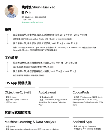 iOS Developer / Data Scientist  Resume Samples - 課程教材內容 (阮大成教授) iOS App 開發技能 Objective-C, Swift - 串接 Firebase, PHP, MySQL - MVC, MVVM design pattern AutoLayout - 實作 Adaptive UI - 熟悉 Tab Bar View, Navigation Bar, Stack View, Table View, Collection View CocoaPods - 使用...