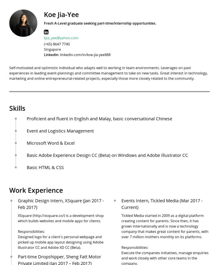 Koe Jia Yee CakeResume Featured Resumes