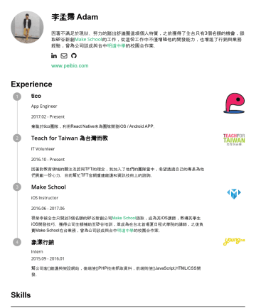 React Native 工程師 Resume Samples - 行銷 Intern幫公司客⼾維護與架設網站,後端使⽤PHP技術抓取資料,前端則使⽤JavaScript,HTML/CSS開發。 Education Fu Jen Catholic University Master's degree, Computer ScienceFu Jen Catholic University Bachelor's degree...