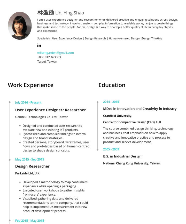 ying shao lin 林盈劭 cakeresume featured resumes