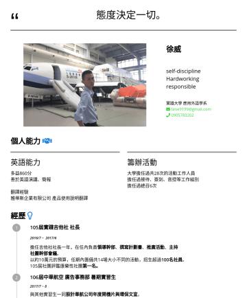 行銷企劃 產品行銷 Resume Samples - 徐威 William Hsu 在這安逸的時代,我不選擇安逸。  企業講師.行銷助理 實踐大學 USC Taipei,Taiwan fane9199@gmail.com.技能 英語 Toeic 860 翻譯微軟EDM與官方產品手冊 Office 專門提供企業 Office 365 教育訓練 (...