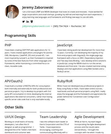 Jeremy Zaborowski's resume - Jeremy Zaborowski I am a full-stack LAMP and MEAN developer that loves to create and innovate. I have worked for large corporations and small start...