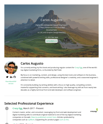 Carlos Augusto's CakeResume - Carlos Augusto Digital Marketing and Copywriting Expert 17 Years Advanced Front End Web Development UI, UX, and Graphic Design Mastery +1,carlos@pl...