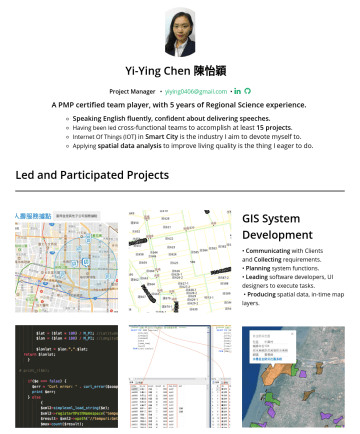 Yi-Ying Chen (怡穎)'s CakeResume - Yi-Ying Chen 陳怡穎 Project Manager • yiying0406@gmail.com • A PMP certified team player, with 5 years of Regional Science experience. Speaking Englis...