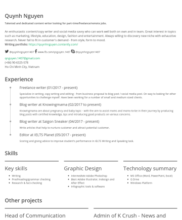Quỳnh Nguyen's CakeResume - Quynh Nguyen Talented and dedicated article & blog writer looking for freelance jobs. An enthusiastic content/copy writer and social media savvy wh...