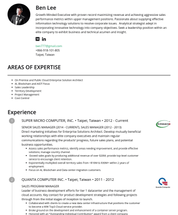Sales Director Resume Samples - Ben Lee Growth-Minded Executive with proven record maximizing revenue and achieving aggressive sales performance metrics within upper management positions. Passionate about supplying effective information technology solutions to resolve corporate issues. Analytical strategist adept in incorporating innovative technology into company objectives. Seek a leadership position within an elite company to...