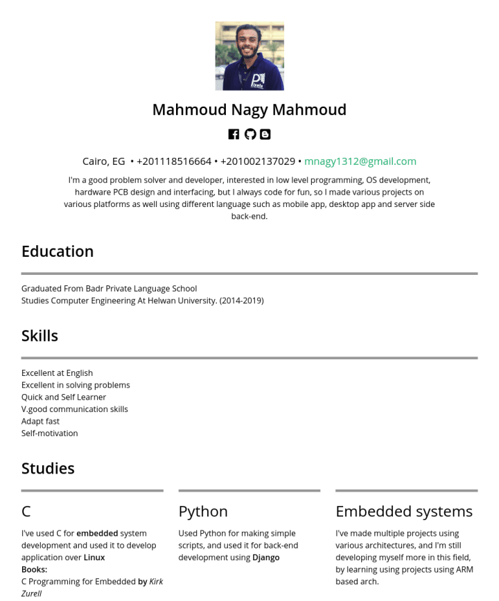 Mahmoud Nagy – CakeResume Featured Resumes