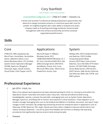 Cory Stanfield's CakeResume - Cory Stanfield http://linkedin.com/in/cory-stanfield corystanfield.cs@gmail.com • Oxnard, Ca A driven and versatile IT professional seeking employm...