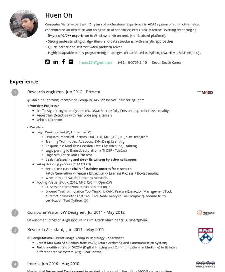 Huen Oh – CakeResume Featured Resumes