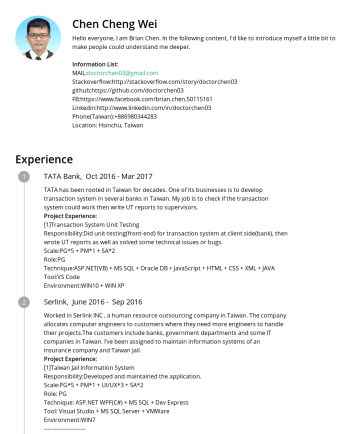 陳政緯's resume - Chen Cheng Wei Hello everyone, I am Brian Chen. In the following content, I'd like to introduce myself a little bit to make people could understand...