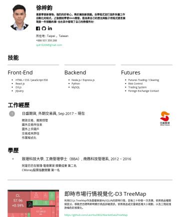 Web Developer 简历范本 - 徐梓鈞 喜愛學習新事物,強烈的好奇心,熱於擁抱新挑戰。 自學程式並打 造 許多讓工作 自動化的程式 ,之後開始學習Web開發,認為將自己的想法與點 子用 程式語言展 現是一件很酷的事! 也在其中發現了自己的熱情所在! 所在地 : Taipei ,Taiwan sp810208@gmail.co...