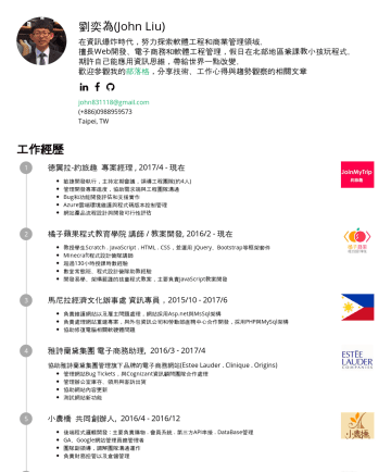 專案經理或工程團隊管理職 Resume Samples - 控制 Server 架設經驗 : Heroku + Rails Web App。 Heroku + Rails API Server。 Nginx + Ubuntu + Rails Website。 Azure + C# Website。 阿里雲 + IIS + C# Website 版本控制: 在德翼拉使用 SVN 進行...