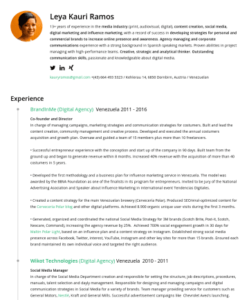 Resume Examples - Leya Kauri Ramos 13+ years of experience in the media industry (print, audiovisual, digital), content creation, social media, digital marketing and...