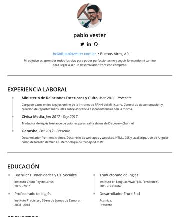Front End Developer Resume Examples - pablo vester http://github.com/pablovester • Buenos Aires, AR Apunto a aprender todos los días, no sólo para perfeccionar mi trabajo sino para segu...